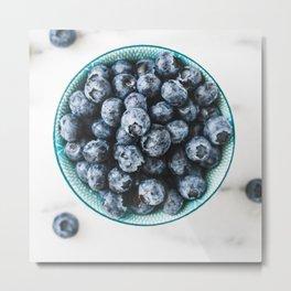 Fresh ripe blueberries over white. Food background. Metal Print