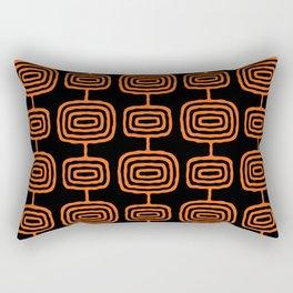 Mid Century Modern Atomic Rings Pattern Black and Orange Rectangular Pillow