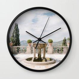 Italian Garden with Fountain Wall Clock