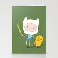 finn and jake Stationery Cards featuring Finn & Jake by Rod Perich