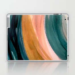 Breathe: a vibrant bold abstract piece in greens, ochre, and pink Laptop & iPad Skin
