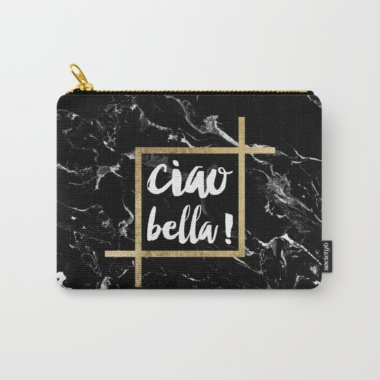 Modern elegant typography Ciao Bella gold leaf black marble Carry-All Pouch