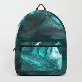 Dark Clouds Gathering - Teal & Grey Marbling Backpack