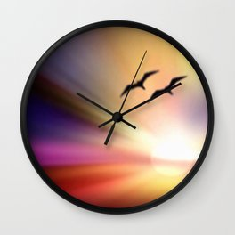 Particularly colorful sunset. Wall Clock