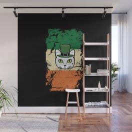 Irish Flag St Patrick Cat Leprechaun Wall Mural