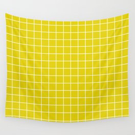 Citrine - green color - White Lines Grid Pattern Wall Tapestry