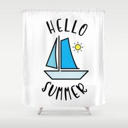 Hello Summer Sailing Shower Curtain
