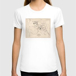 Vintage Map of Lowell MA (1832) T-shirt