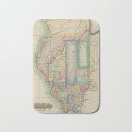 Vintage Map of Illinois (1823) Bath Mat