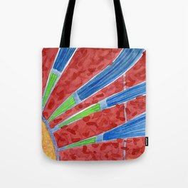 Green and Blue Sun Rays Tote Bag