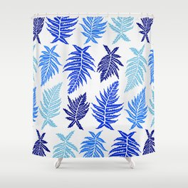 Inked Ferns – Blue Palette Shower Curtain