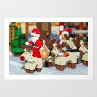 Santa Prepares reindeers Art Print