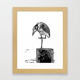 B&W Heron Framed Art Print