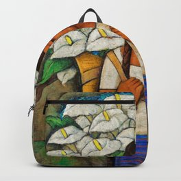 Young Guadalajara Flower Seller with Calla Lilies by Diego Rivera Backpack