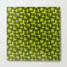 A chaotic mosaic of convex squares with green intersecting bright rectangles and highlights. Metal Print
