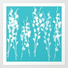 Pussywillow Sprig Silhouettes — Aqua + White Art Print