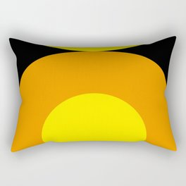 Two suns, one yellow with orange rays,the other orange with yellow rays,both floating in a black sky Rectangular Pillow