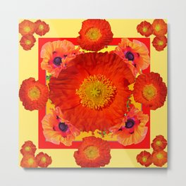 YELLOW-RED POPPIES GARDEN ART YELLOW PATTERNS Metal Print