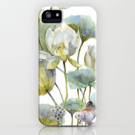 Lotus Plant and Fish Zen Design Watercolor Muted Pallet Botanical Art iPhone Case