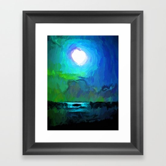 moon in a blue and green sky and on the sea 1 framed art. Black Bedroom Furniture Sets. Home Design Ideas