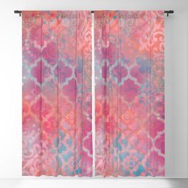 Layered Patterns - Pink, Coral & Turquoise Blackout Curtain