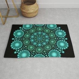 Turquoise & Green Circle Mandala Rug