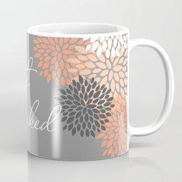 Get Naked Floral Bloom, Coral Gray Coffee Mug