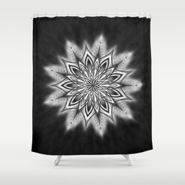 Black Ice Mandala Swirl Shower Curtain