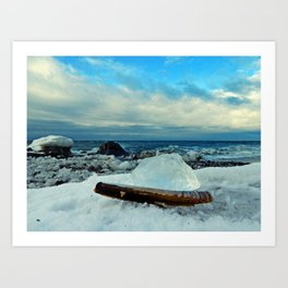 Spring Comes to the Beach in Ice that glows Blue Art Print