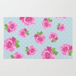 Shabby Chic, Polka Dots, Roses - Pink Green Blue Rug