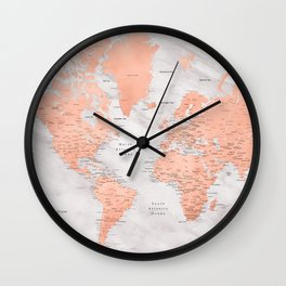 "Rose gold and marble world map with cities, ""Janine"" Wall Clock"