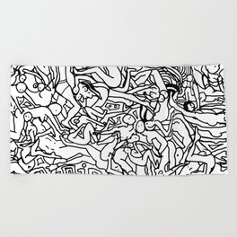Lots of Bodies Doodle - Closeup Beach Towel
