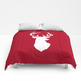 Deer head. White and red. Comforters