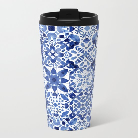Indigo Watercolor Tiles Metal Travel Mug