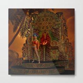 Fantasy maya temple in the sunset Metal Print