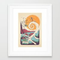 wave Framed Art Prints featuring Surf Before Christmas by Victor Vercesi