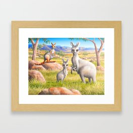 Kangaroo, Wallaby and Joeys Framed Art Print