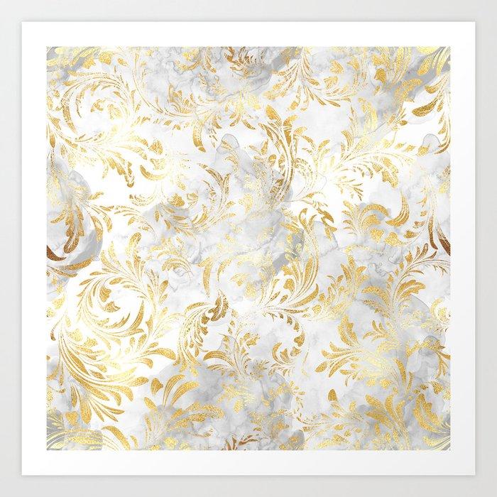 Elegant Gold swirls Art Print