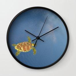 hawksbill swimming in the sky Wall Clock