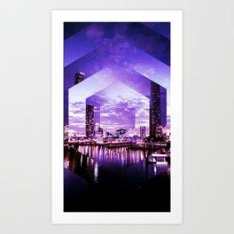 Gorgeous Purple Geometric Brisbane City Riverscape Art Print