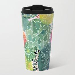 Succulent Circles on Pink Travel Mug