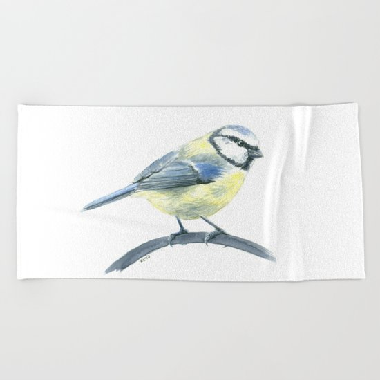 Blue tit, watercolor painting Beach Towel