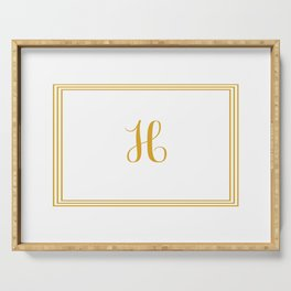 Monogram Letter H in Golden Yellow Serving Tray