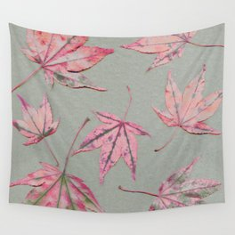 Japanese maple leaves - apricot on light khaki green Wall Tapestry