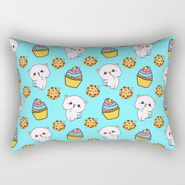 Cute happy funny Kawaii pink baby kittens, yummy colorful cupcakes and chocolate chip cookies cartoon light pastel blue pattern design. Nursery decor ideas.  Rectangular Pillow