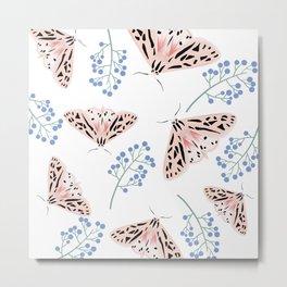Pink Geo Moth Metal Print