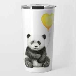 Panda with Yellow Balloon Baby Animal Watercolor Nursery Art Travel Mug