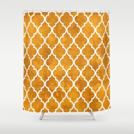 Classic Quatrefoil Lattice Pattern 903 Yellow Shower Curtain