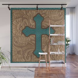 Western Faux Tooled Leather Cross Teal Turquoise Brown Wall Mural