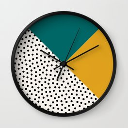 Dots and Colors - Turquoise Mustard Wall Clock